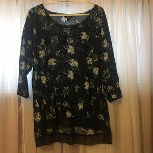 43c4a8e697b5a4 Size 2X Vera Wang Floral Quarter Sleeve Top